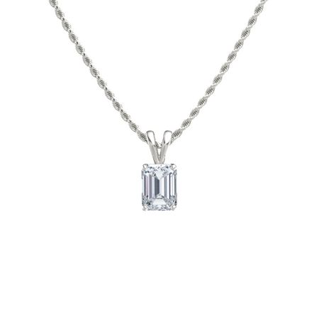 Emerald diamond 14k white gold pendant emerald cut solitaire emerald cut solitaire pendant 8mm gem mozeypictures Images