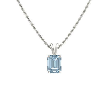 Emerald cut aquamarine 14k white gold necklace emerald cut emerald cut solitaire pendant 9mm gem aloadofball Images