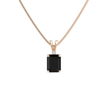 Emerald-Cut Solitaire Pendant with Accent (9mm gem)