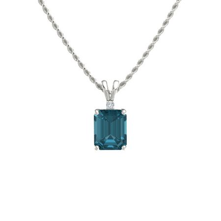 Emerald cut london blue topaz 14k white gold necklace with diamond emerald cut solitaire pendant with accent 10mm gem aloadofball Choice Image