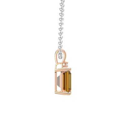 Emerald-Cut Solitaire Pendant with Accent (10mm gem)