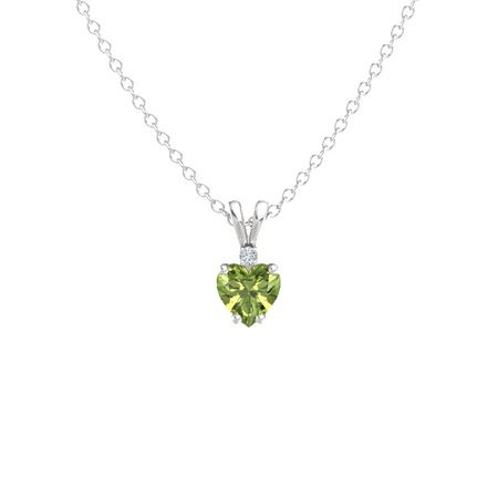 Heart peridot sterling silver necklace with diamond heart cut heart cut solitaire pendant with accent 8mm gem aloadofball Images