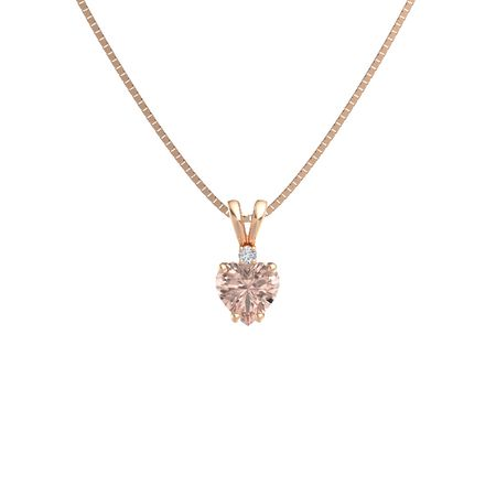 Heart-Cut Solitaire Pendant with Accent (8mm gem)