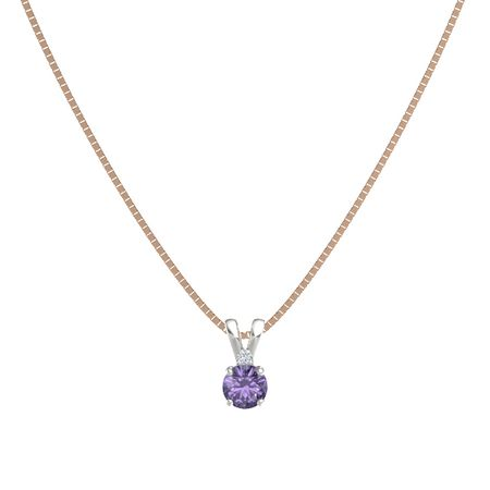 Round-Cut Solitaire Pendant with Accent (5mm gem)