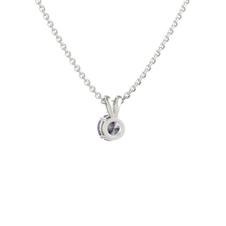 Round-Cut Solitaire Pendant with Accent (6.5mm gem)