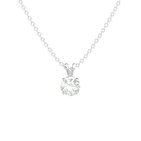 Round-Cut Solitaire Pendant with Accent (7.5mm gem)