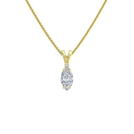 Marquise Diamond 14K Yellow Gold Pendant with Diamond ...