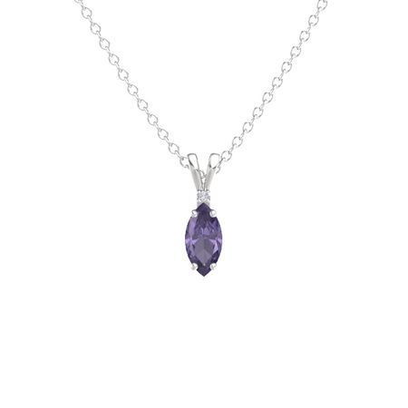 Marquise-Cut Solitaire Pendant with Accent (10mm gem)