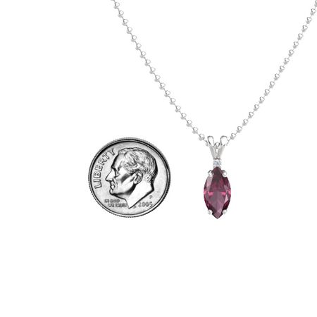 Marquise-Cut Solitaire Pendant with Accent (12mm gem)