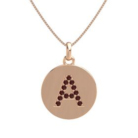 14K Rose Gold Pendant with Red Garnet