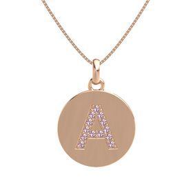 14K Rose Gold Necklace with Rhodolite Garnet