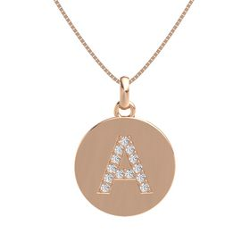 14K Rose Gold Necklace with White Sapphire