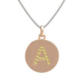 14K Rose Gold Pendant with Yellow Sapphire