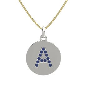 14K White Gold Pendant with Blue Sapphire