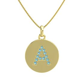 14K Yellow Gold Necklace with London Blue Topaz