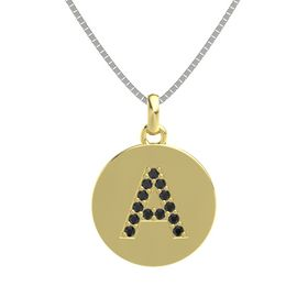 14K Yellow Gold Pendant with Black Diamond