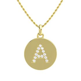 14K Yellow Gold Necklace with Rock Crystal