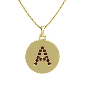 14K Yellow Gold Necklace with Red Garnet