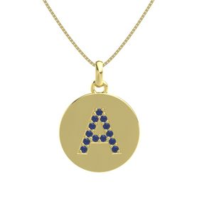 14K Yellow Gold Pendant with Blue Sapphire