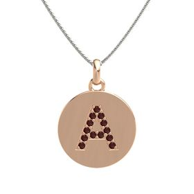 18K Rose Gold Necklace with Red Garnet