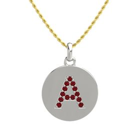18K White Gold Pendant with Ruby