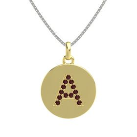 18K Yellow Gold Pendant with Red Garnet