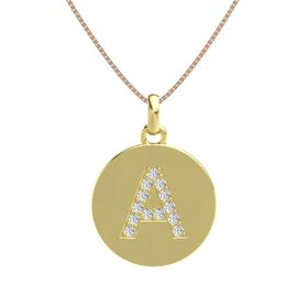 18K Yellow Gold Pendant with White Sapphire