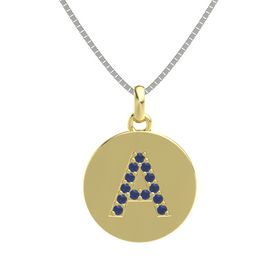 18K Yellow Gold Pendant with Blue Sapphire