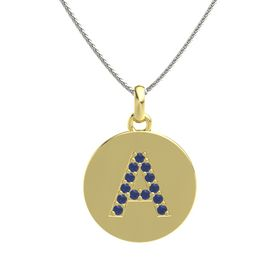 18K Yellow Gold Necklace with Sapphire