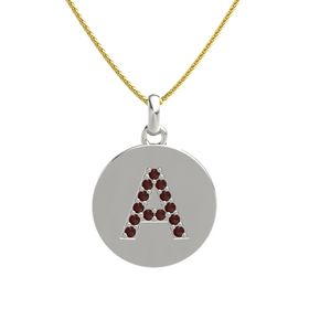Platinum Pendant with Red Garnet