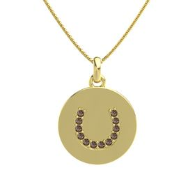 14K Yellow Gold Necklace with Smoky Quartz