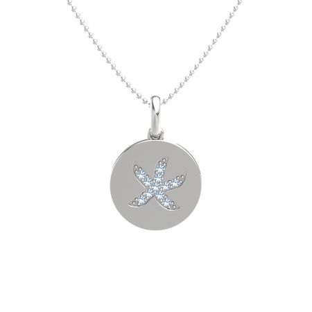 Sterling silver necklace with blue topaz gemstone starfish pendant gemstone starfish pendant aloadofball Choice Image