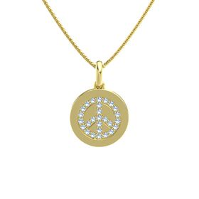 14K Yellow Gold Necklace with Blue Topaz