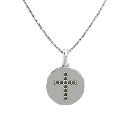 Gem Cross Disc Pendant