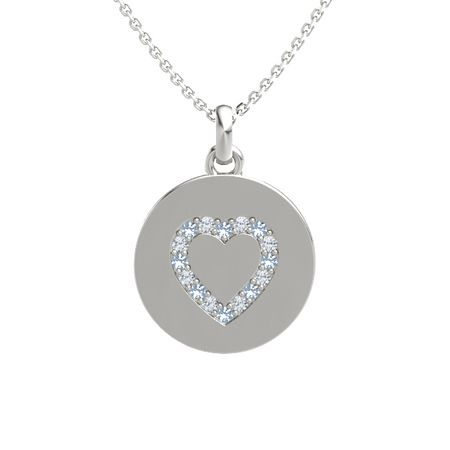 Gem Heart Charm Disc Pendant