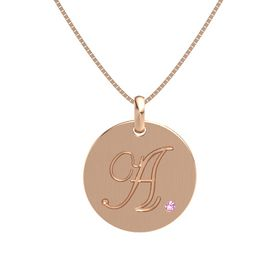 "Initials ""A-Z"" Disc Charm Pendant with Gem"