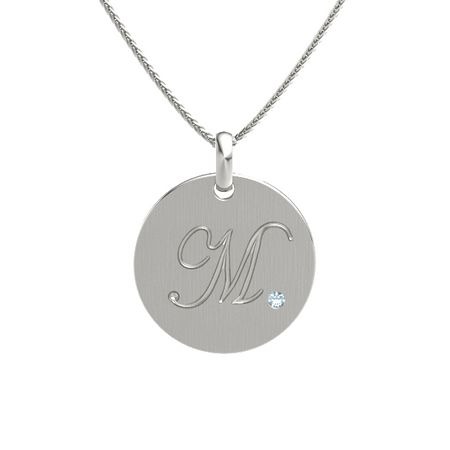 14k white gold necklace with aquamarine initials m disc charm initials mozeypictures Images