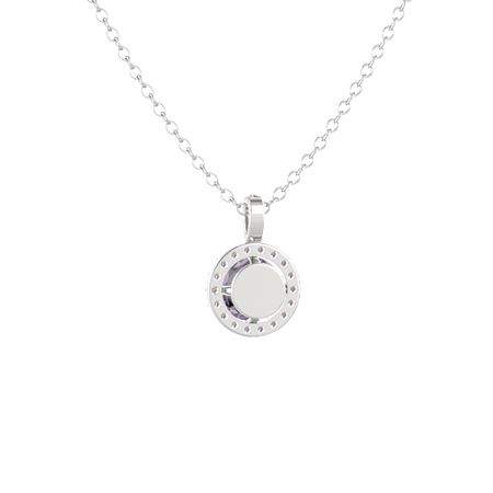 Round-Cut Halo Pendant (7mm gem)