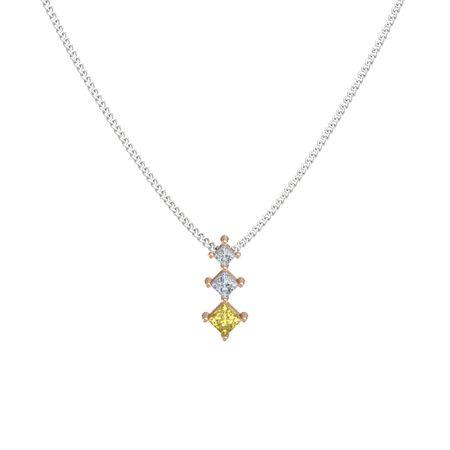 Princess yellow sapphire 18k rose gold pendant with diamond three princess pendant aloadofball Gallery