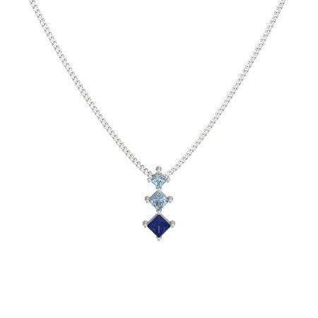 Princess sapphire sterling silver necklace with blue topaz three princess pendant aloadofball Choice Image