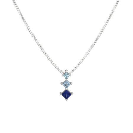 c2273f00dc09a Princess Blue Sapphire Sterling Silver Pendant with Blue Topaz and ...