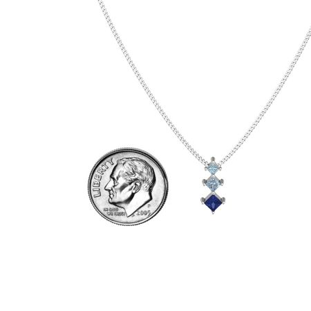 Princess sapphire sterling silver necklace with blue topaz three princess pendant aloadofball Gallery
