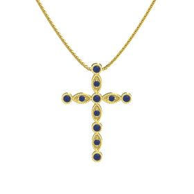 Round Blue Sapphire 14K Yellow Gold Pendant with Blue Sapphire