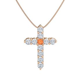 Round Fire Opal 14K Rose Gold Pendant with Diamond
