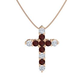 Round Red Garnet 14K Rose Gold Pendant with Red Garnet and Diamond