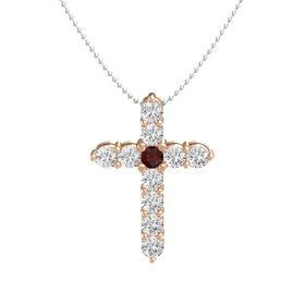 Round Red Garnet 14K Rose Gold Pendant with White Sapphire