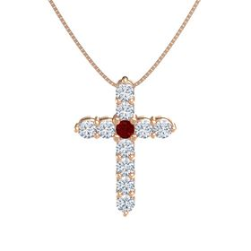 Round Ruby 14K Rose Gold Pendant with Diamond