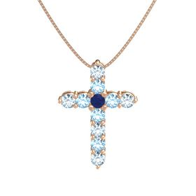 Round Blue Sapphire 14K Rose Gold Pendant with Blue Topaz and Aquamarine