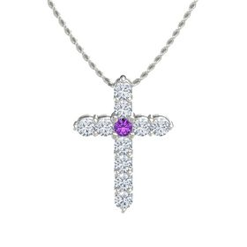 Round Amethyst 14K White Gold Pendant with Diamond
