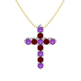 Round Amethyst 14K White Gold Pendant with Ruby and Amethyst
